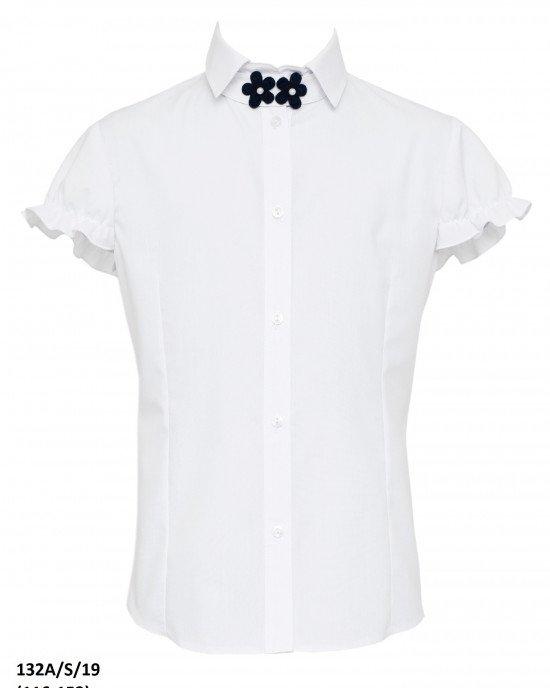 Блуза с декором на воротнике в виде цветов