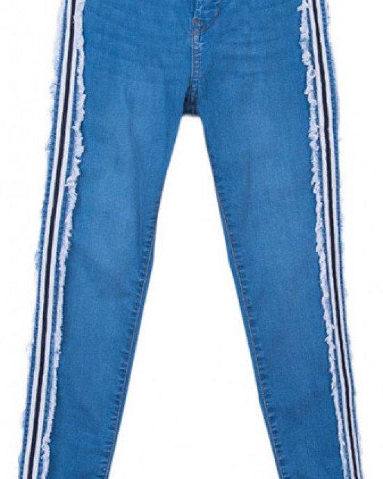 Джинсы High Waist голубого цвета с широкими лампасами