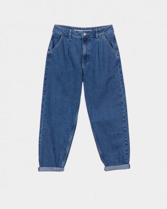 Джинсы Slouchy синего цвета с высокой посадкой