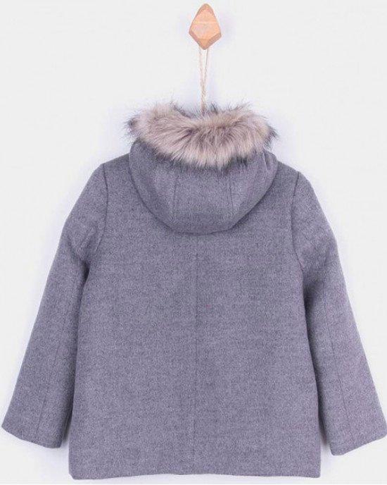 Пальто укороченное серого цвета с капюшоном