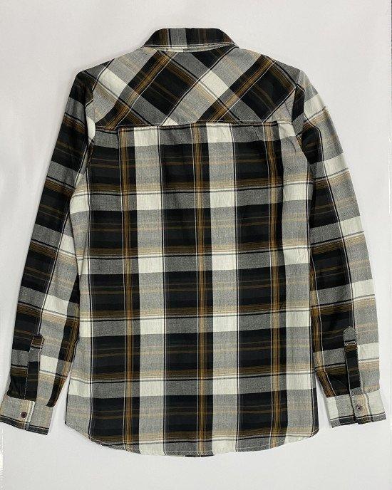 Рубашка с карманами в черно-коричневую клетку