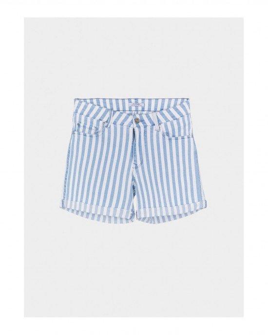 Шорты из джинсовой ткани в бело - голубую полоску