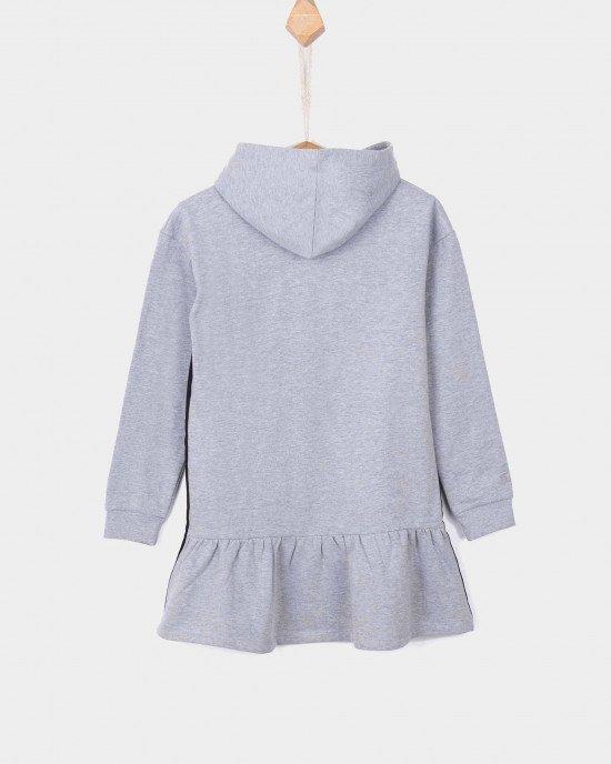 Туника - платье утепленное серого цвета с капюшоном