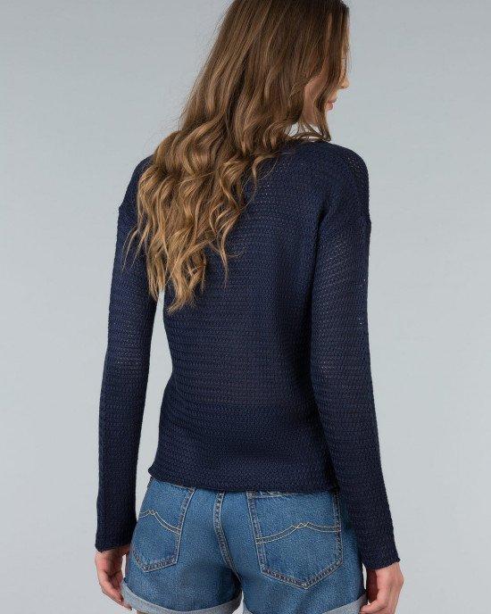 Джемпер синего цвета ажурной вязки