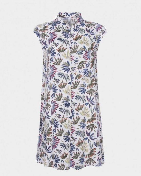 Платье - халат белого цвета в цветочный принт
