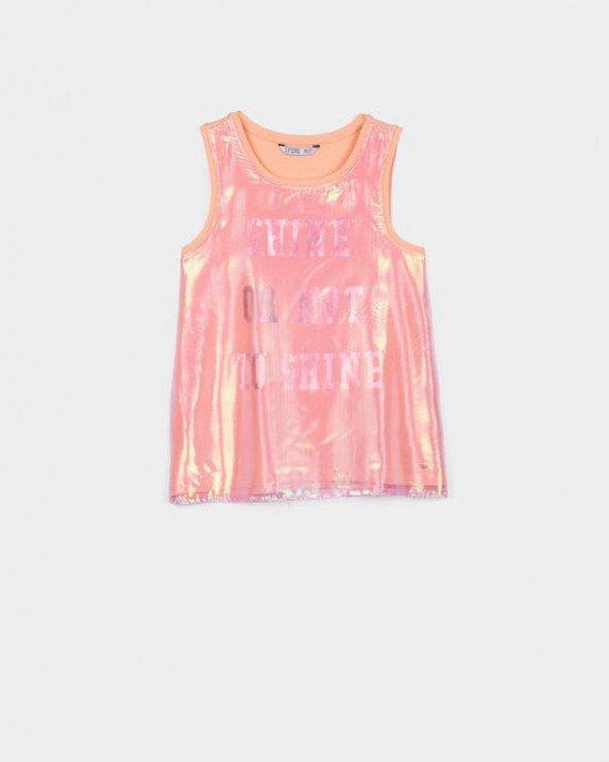 Майка персикового цвета с прозрачной радужной накладкой