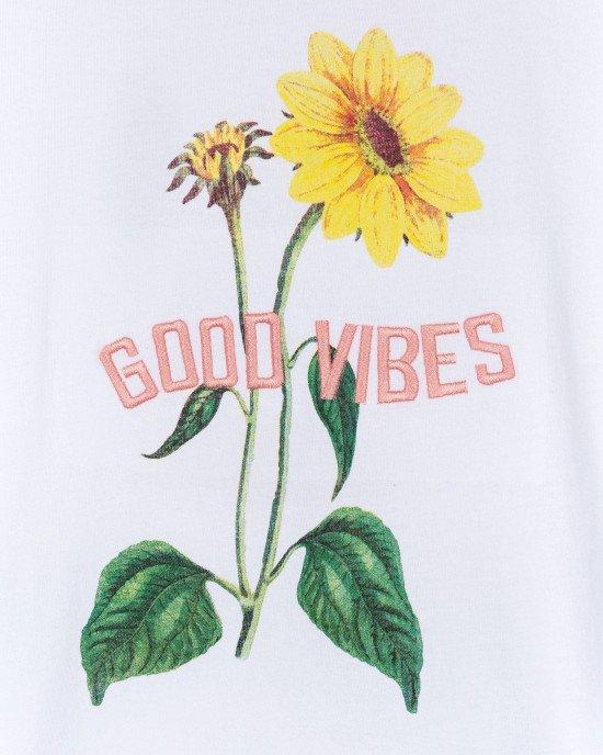 """Футболка белого цвета с цветочным принтом и надписью """"Good vibes"""""""