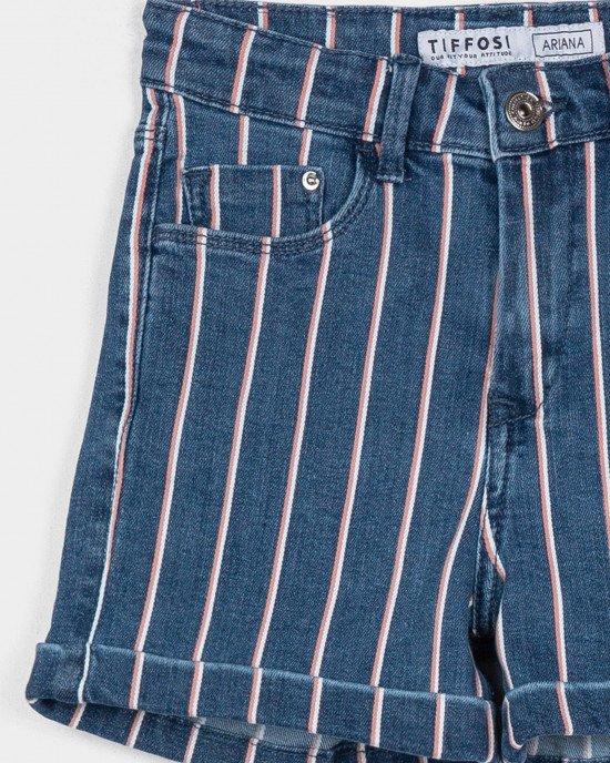 Шорты джинсовые синего цвета в розово-белую полосу