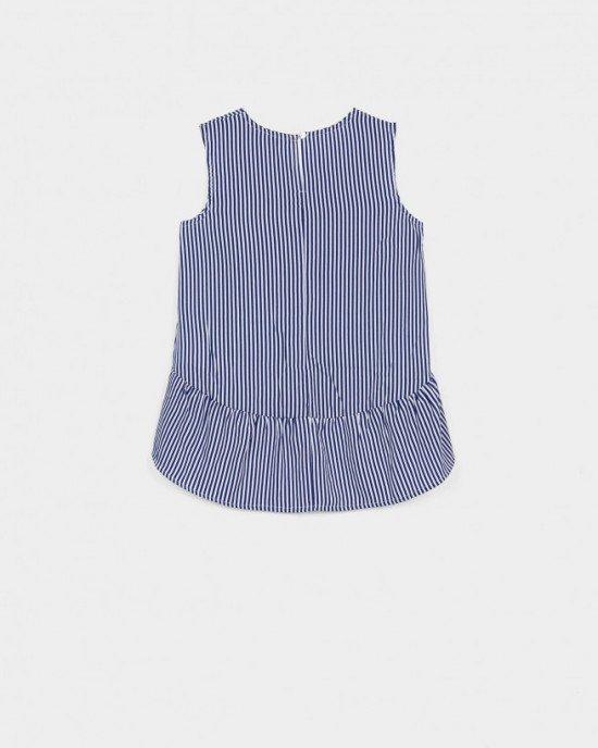 Блуза с коротким рукавом в бело-синюю полоску асимметричного кроя