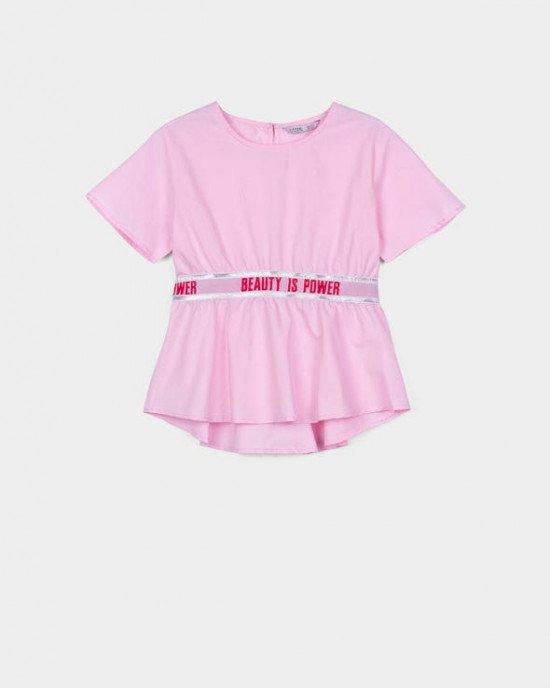 Блуза с коротким рукавом и широкой резинкой в поясе