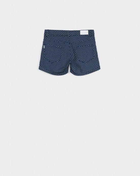 Шорты Medium waist синего цвета в белый горошек