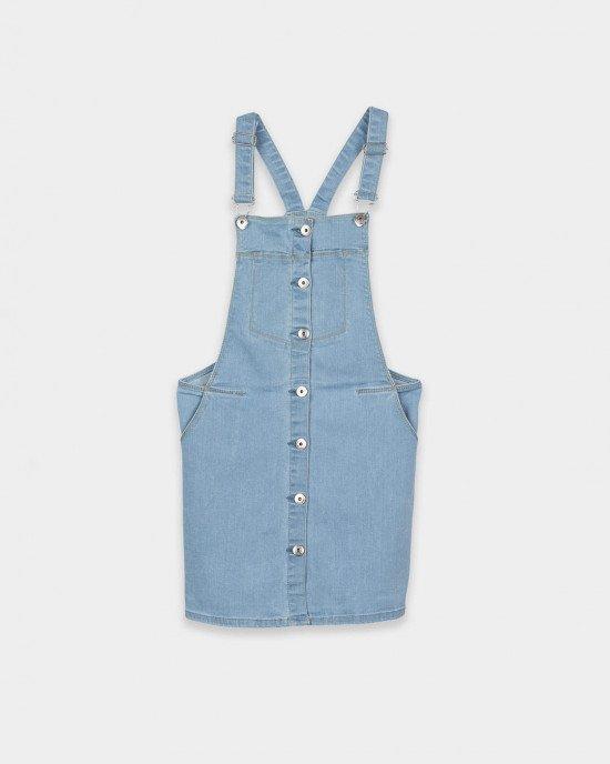Комбинезон джинсовый голубого цвета с юбкой