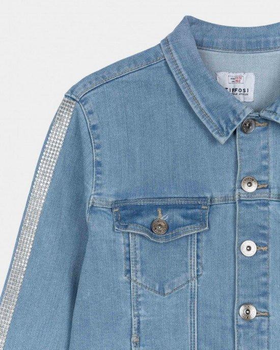 Куртка джинсовая с блестящим декором на рукавах