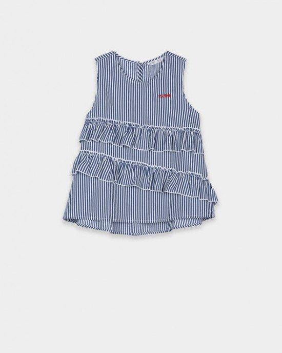 Майка - блузон с воланами в сине - белую полосу