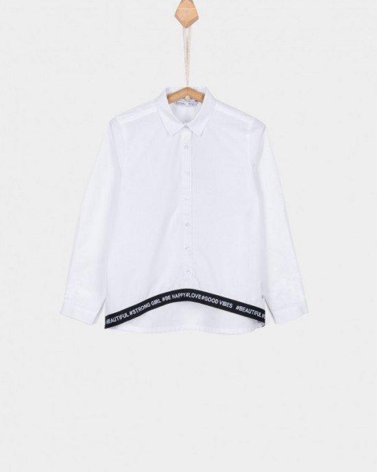 Блуза удлиненная снизу с отделкой черного цвета