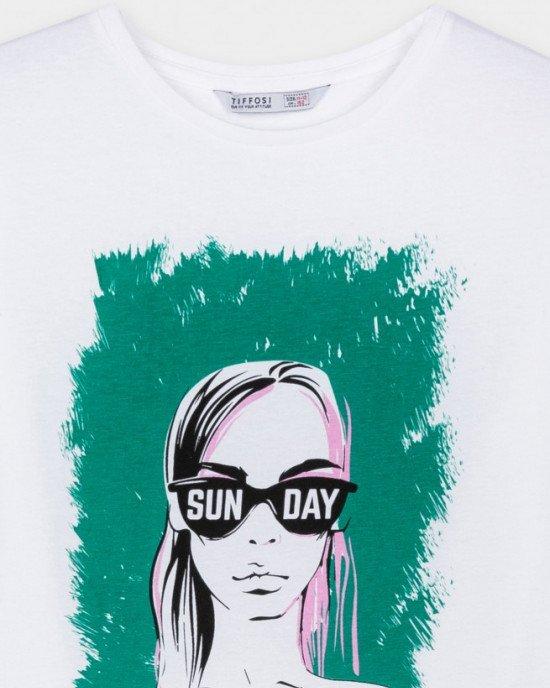 """Футболка белого цвета в принт с надписью """"sun day"""""""