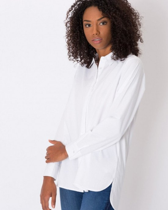 Блуза (рубашка) белого цвета с длинными рукавами