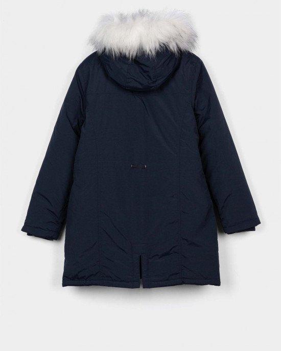 Куртка - парка утепленная синего цвета с белым искусственным мехом
