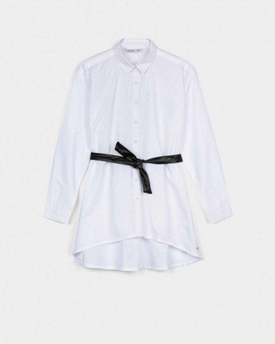 Блуза удлиненная белого цвета с черным поясом