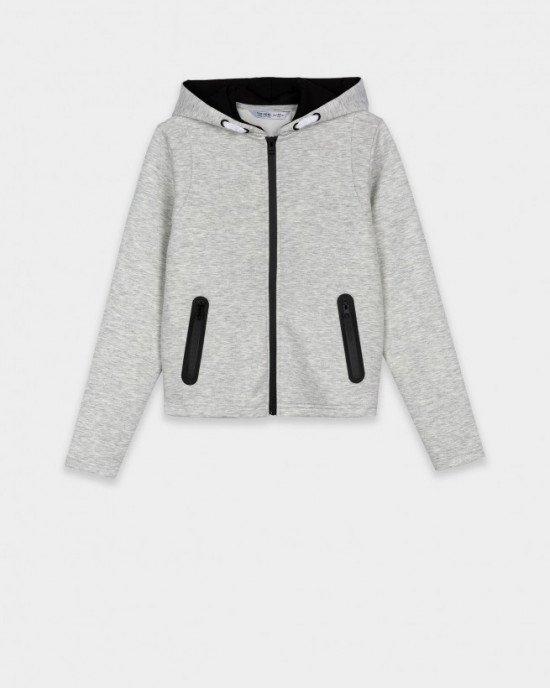 Толстовка серого цвета с карманами на молнии