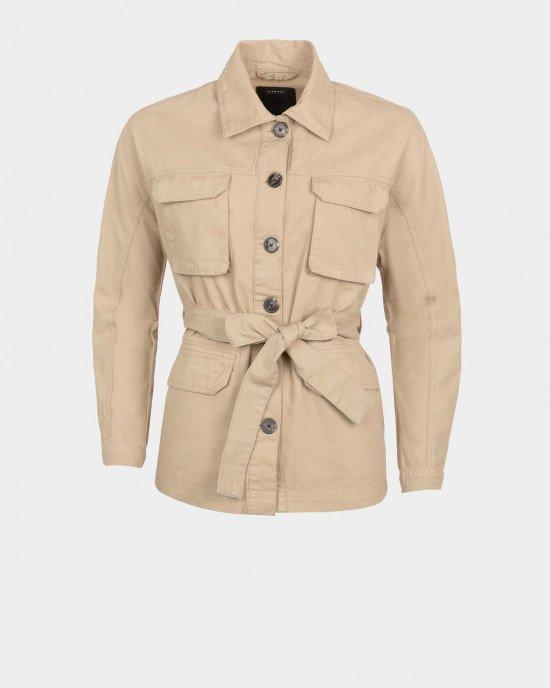 Куртка - жакет трикотажная бежевого цвета