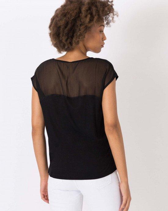 Футболка - блузон из полупрозрачной ткани черного цвета