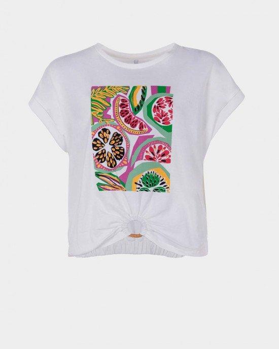 Футболка - блузон кремового цвета с ярким фруктовым принтом