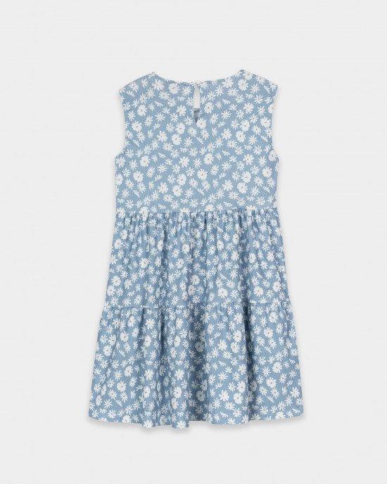 Платье летнее голубого цвета с воланами