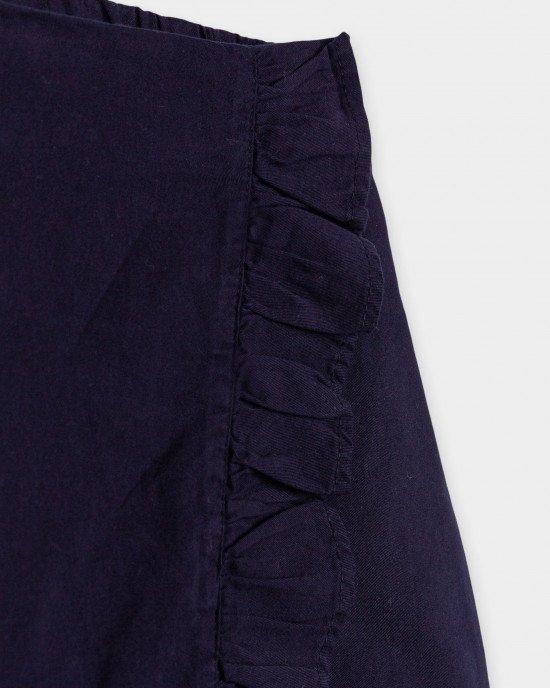 Шорты - юбка синего цвета из натурального хлопка
