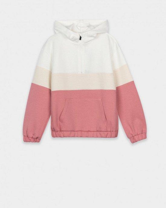 "Худи кремово - розового цвета с карманом ""кенгуру"""