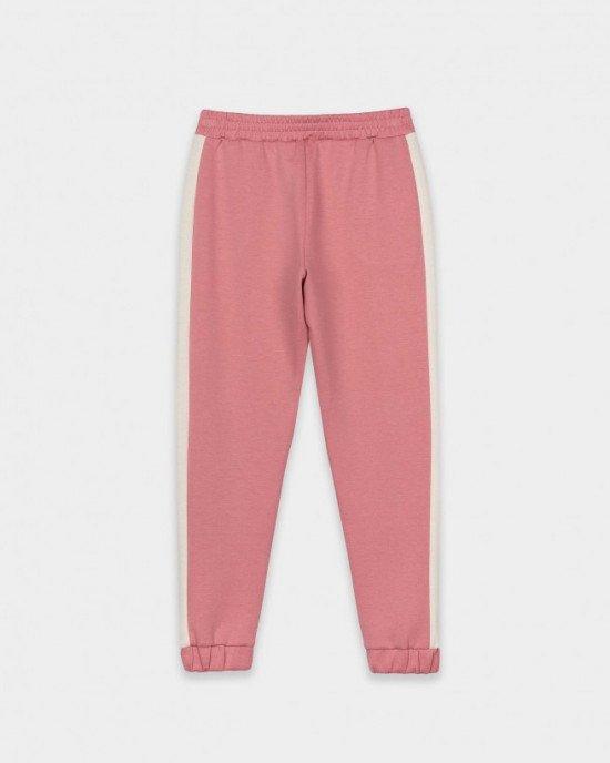 Штаны спортивные розового цвета с кремовыми лампасами для девочек