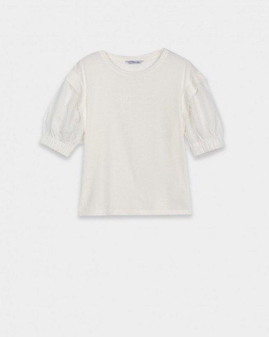 Футболка - блузон кремового цвета с рукавами - фонариками