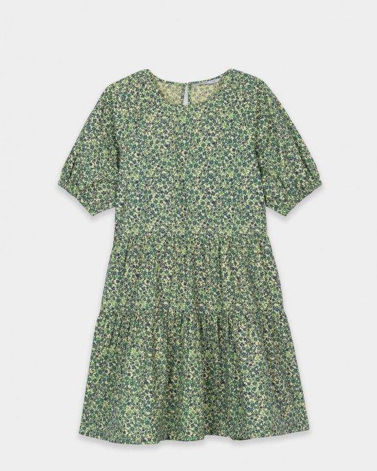 Платье свободного кроя с воланами в цветочный принт