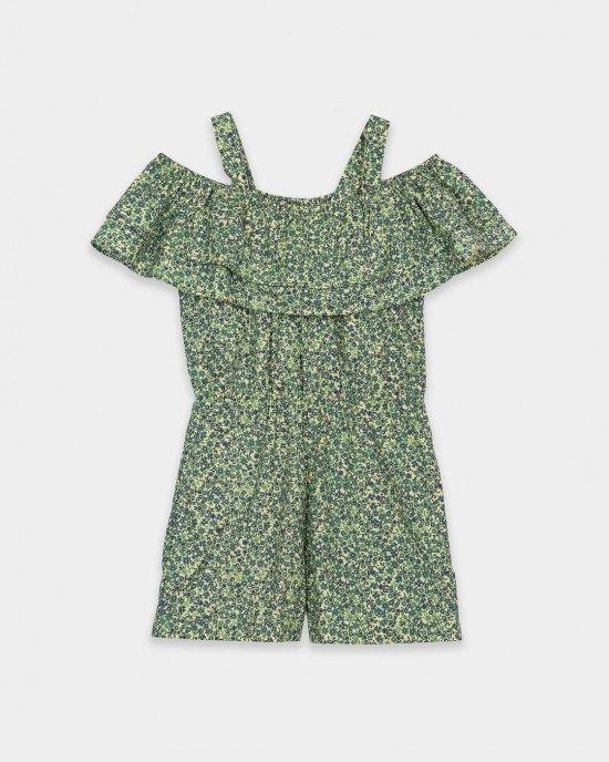 Комбинезон с шортами зеленого цвета в цветочный принт