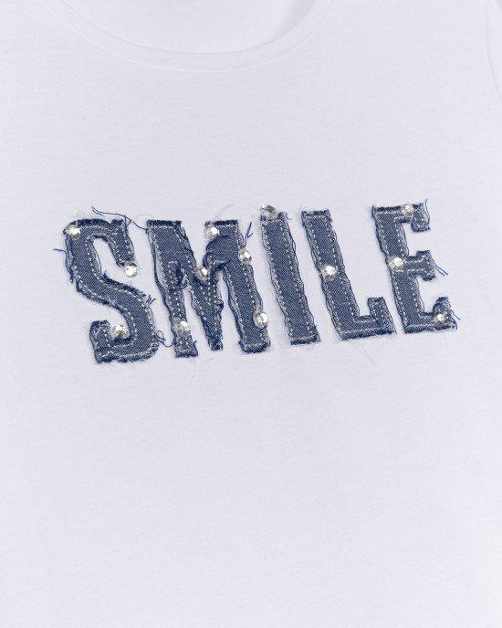 """Футболка белого цвета с надписью """"Smile"""""""