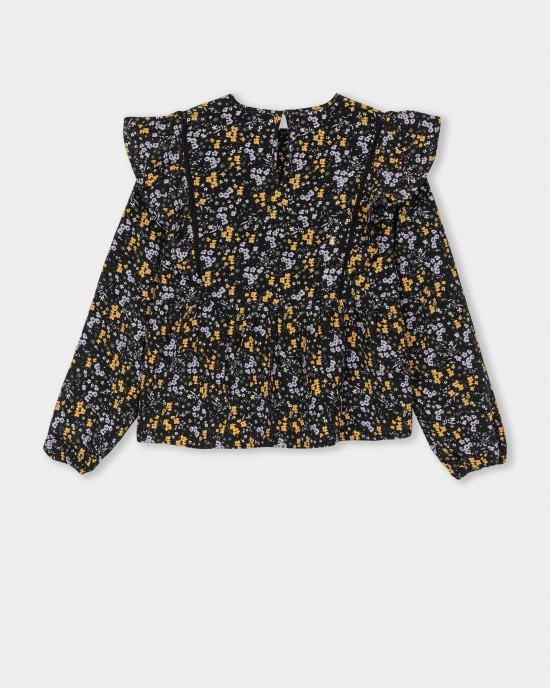 Блузон черного цвета в мелкий цветочный принт