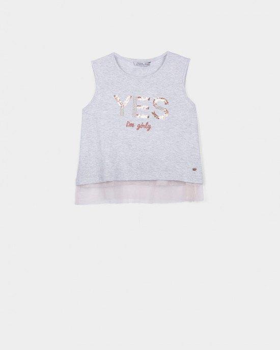 Майка - топ серого цвета с розовой фатиновой вставкой