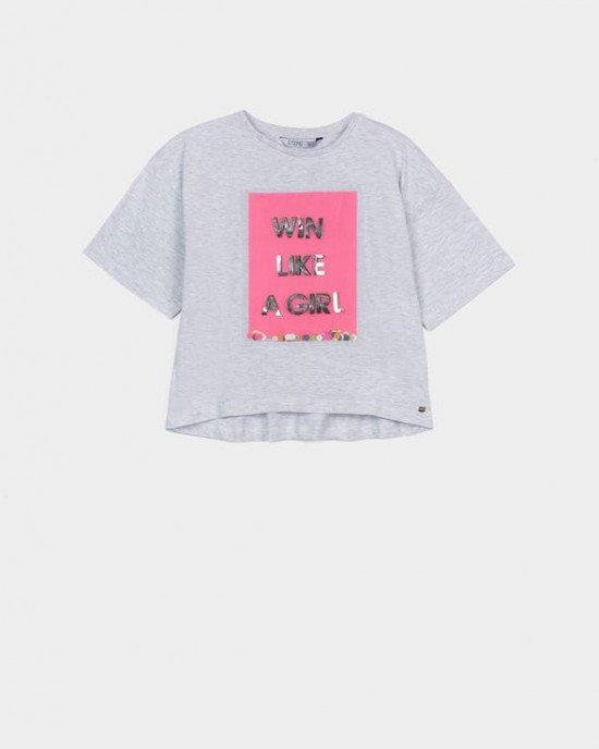 Топ - футболка серого цвета с розовым декором