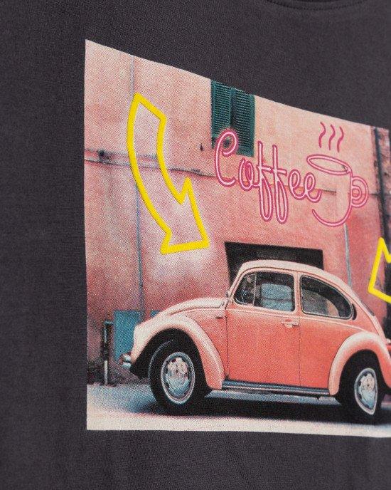 Топ графитового цвета в цветной принт