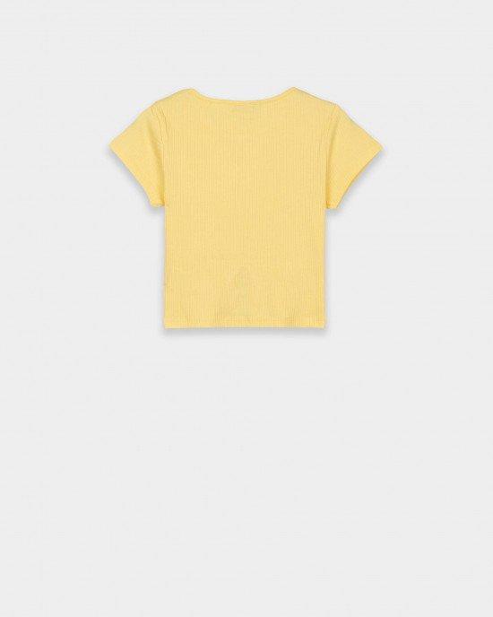"""Футболка - топ в """"рубчик"""" желтого цвета"""