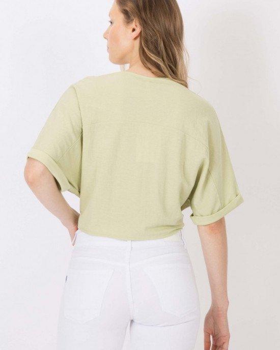 Топ - блузон с коротким рукавом мятного цвета