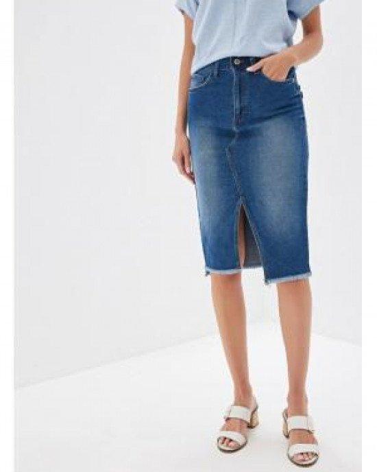 Юбка джинсовая с асимметричным кроем