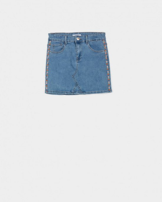 Юбка джинсовая с потертостями и лампасами из бисера