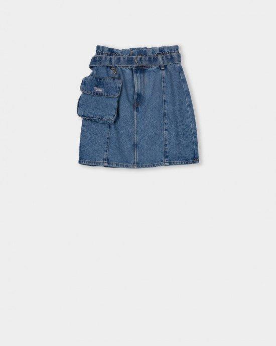 Юбка джинсовая синего цвета с сумочкой