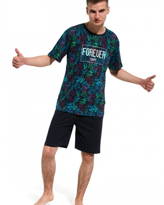 Пижама (шорты + футболка) темно - синего цвета в принт