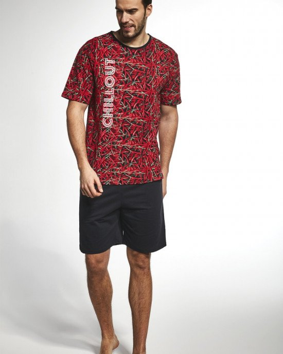 Пижама (шорты + футболка) черного цвета в яркий красный принт