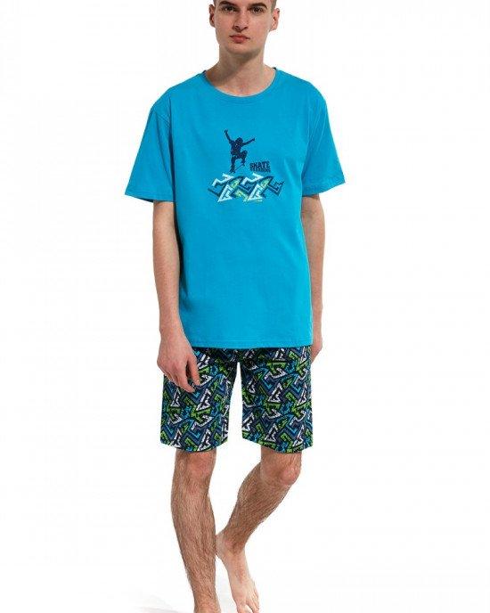 "Пижама (шорты + футболка) голубого цвета ""Skate boarding"""