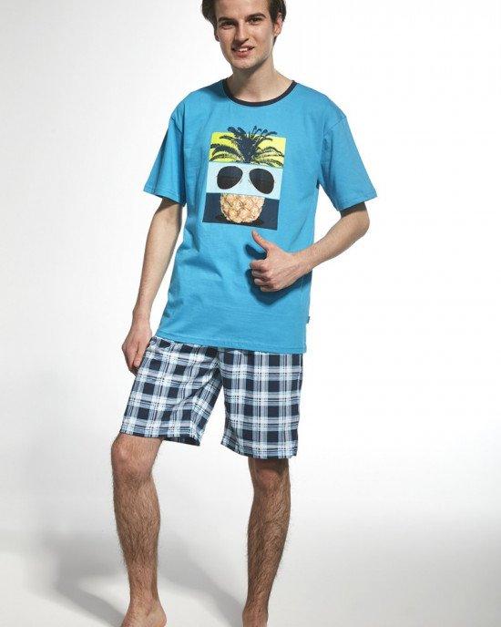 """Пижама (футболка + шорты) синего цвета с """"летним"""" рисунком"""