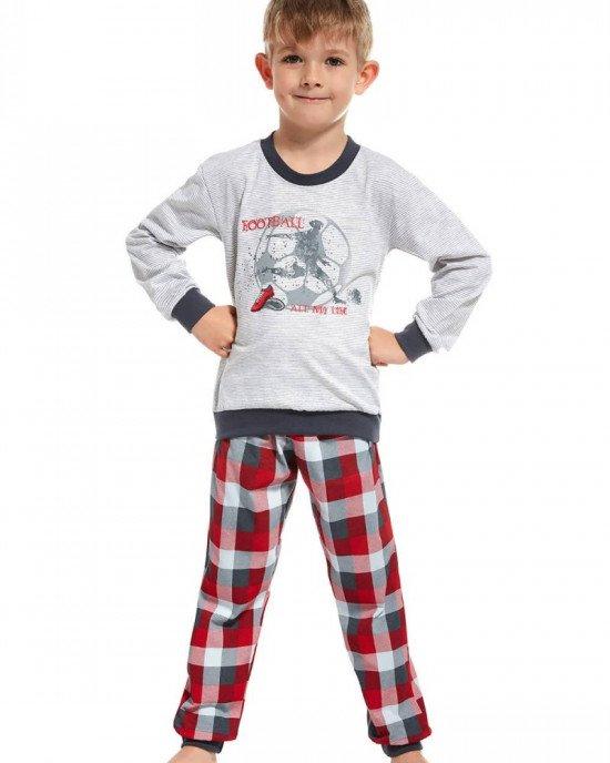 Пижама (реглан + штаны) серо - красного цвета