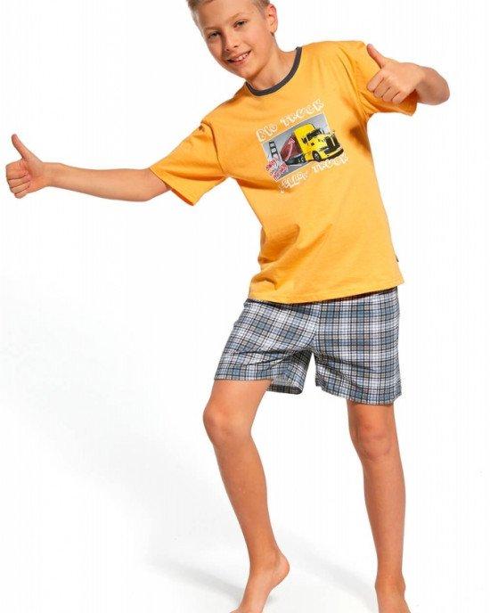 Пижама (футболка + шорты) желтая в принт